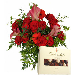 Red Christmas Flowers with Continental Chocolates